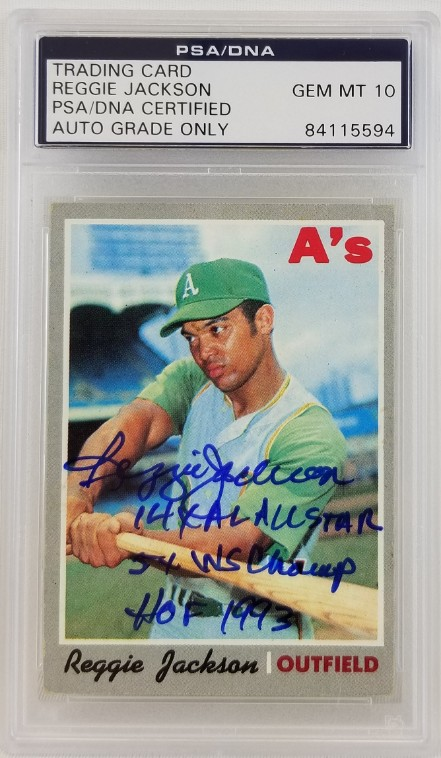 Lot Detail Reggie Jackson Signed As 1970 Topps 140 Card W 3