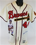 Hank Aaron Signed Zippered Flannel Mitchell & Ness Cooperstown Collection Jersey w/ Hand Painted Portrait (PSA/DNA COA)