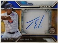 Jorge Soler Cubs Signed 2015 Topps Strata Rookie Card w/ Jersey Patch #64/99