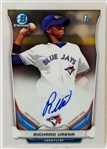 Richard Urena Signed Blue Jays 2014 Bowman Chrome Rookie Card #BCAP-RU