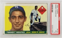 Sandy Koufax Dodgers 1955 Topps #123 Rookie Card - Graded VG 3 (PSA)