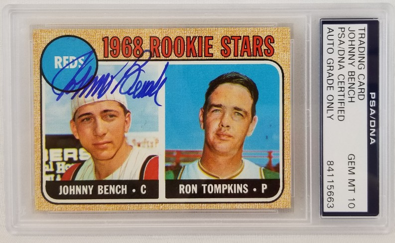 Lot Detail Johnny Bench Signed 1968 Topps 247 Rookie Card