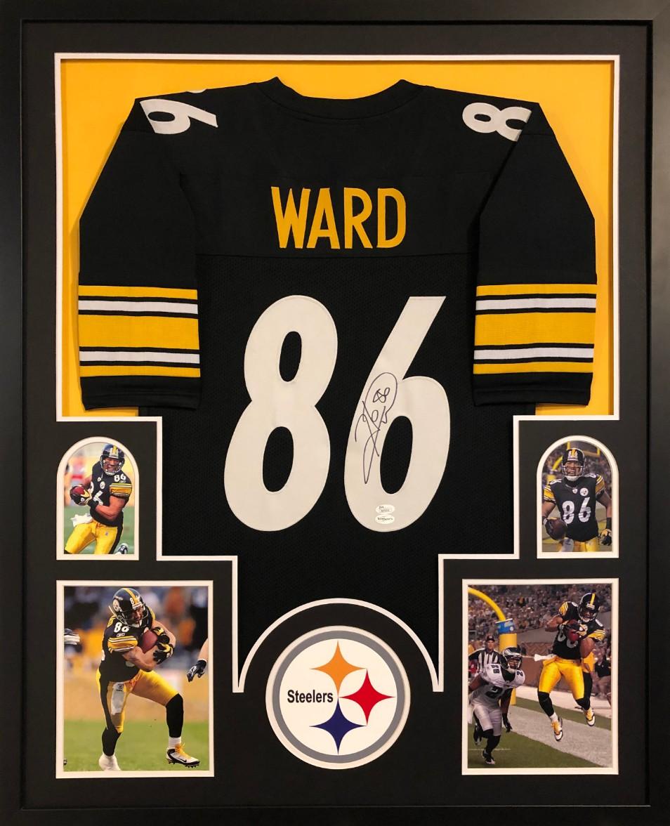 Hines Ward Signed Pittsburgh Steelers Custom Jersey Framed Display (JSA COA) a66aea295