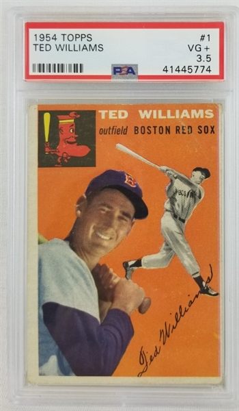 Ted Williams Red Sox 1954 Topps #1 Card - Graded VG+ 3.5 (PSA)