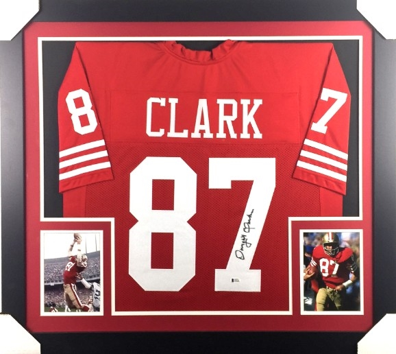d7e84e74723 Dwight Clark Signed San Francisco 49ers Custom Jersey Framed Display  (Beckett Witness COA)