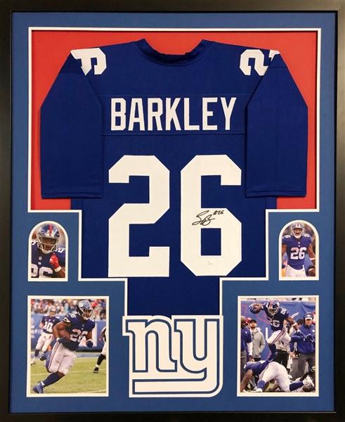 4c88d40da55 Saquon Barkley Signed New York Giants Custom Jersey Framed Display (JSA COA)