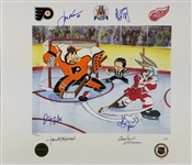 "Draper, McCarty, Kocur & Maltby Signed 19x22 ""Bringing Home The Cup"" Lithograph (JSA COA)"