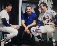 Nolan Ryan & Jerry Koosman Signed New York Mets 16x20 Photo w/ Seaver (JSA COA)