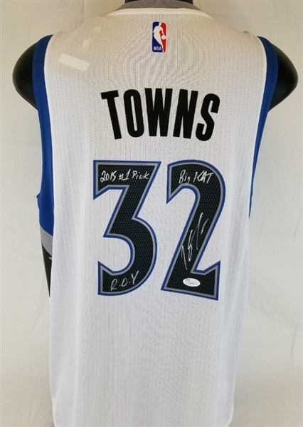 Karl-Anthony Towns Signed Timberwolves Adidas Swingman Jersey w/ 3 Inscriptions (JSA COA)