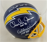 Dan Fouts, Charlie Joiner and Kellen Winslow Signed & HOF Inscribed Full Size Replica Chargers Helmet (JSA Witness COA)
