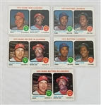 Lot of (5) 1972 Topps National League/American League Leaders Baseball Cards