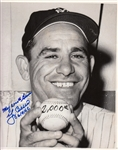 "Yogi Berra ""My 2000th Game 6/9/62"" Signed Yankees B&W 8x10 Photo (Steiner LOA)"