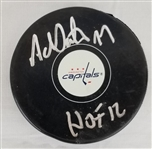 "Adam Oates ""HOF 12"" Signed Washington Capitals Logo Hockey Puck (JSA Witness COA)"