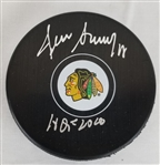 "Denis Savard ""HOF 2000"" Signed Chicago Blackhawks Logo Hockey Puck (Schwartz Sports COA)"