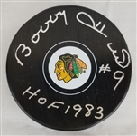 "Bobby Hull ""HOF 1983"" Signed Chicago Blackhawks Logo Hockey Puck (Schwartz Sports COA)"