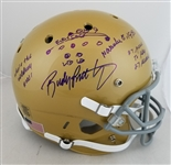 Rudy Ruettiger Signed Full Size Replica Notre Dame Helmet w/ Hand Drawn The Sack Play (Beckett COA)