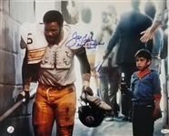 Joe Greene and Tommy Okon Signed & Inscribed Hey Kid, Catch! Coca-Cola Commercial 16x20 Photo (JSA & Leaf COAs)