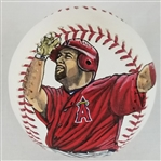 Albert Pujols Hand-Painted Image OML Baseball - Signed by Artist Doug Brewer