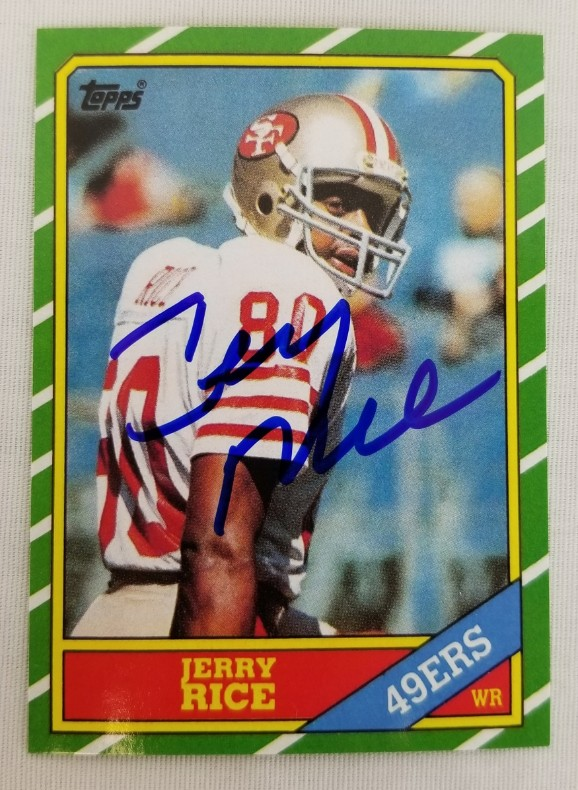 Lot Detail Jerry Rice Signed 1986 Topps 161 Rookie Reprint Card