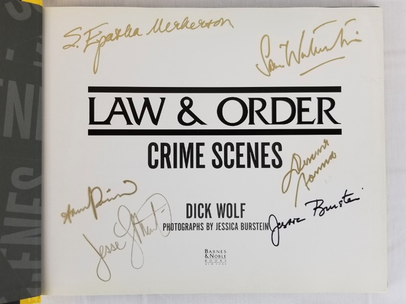 Law & Order Cast Signed Crime Scenes Hardcover Book - 6 Sigs Inc. Sam Waterston (JSA LOA)