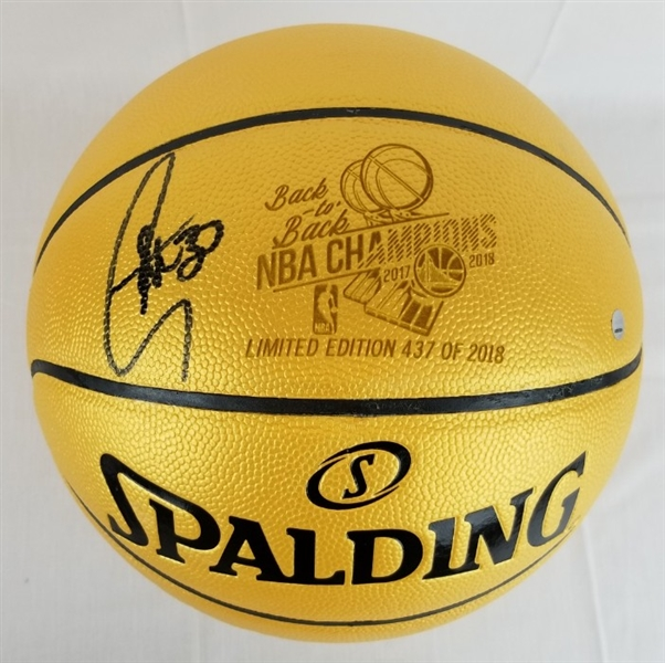 Stephen Curry Signed Lmt Ed. 2018 Official Back-to-Back NBA Champions Basketball (Steiner COA)
