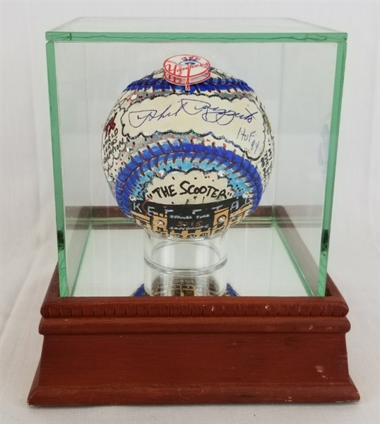 "Phil Rizzuto ""HOF 94"" Signed Charles Fazzino Hand-Painted 3D Pop Art Baseball w/ Steiner Glass Display Case (PSA/DNA LOA)"