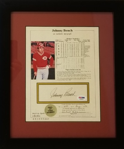 cb19e5b0271 Johnny Bench Signed & Framed Career Stats Achievement Sheet (PSA/DNA COA)
