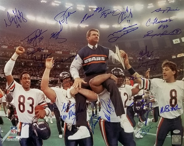 1985 Chicago Bears Team Signed Super Bowl XX 16x20 Photo w/ 22 Signatures (Schwartz Sports COA)