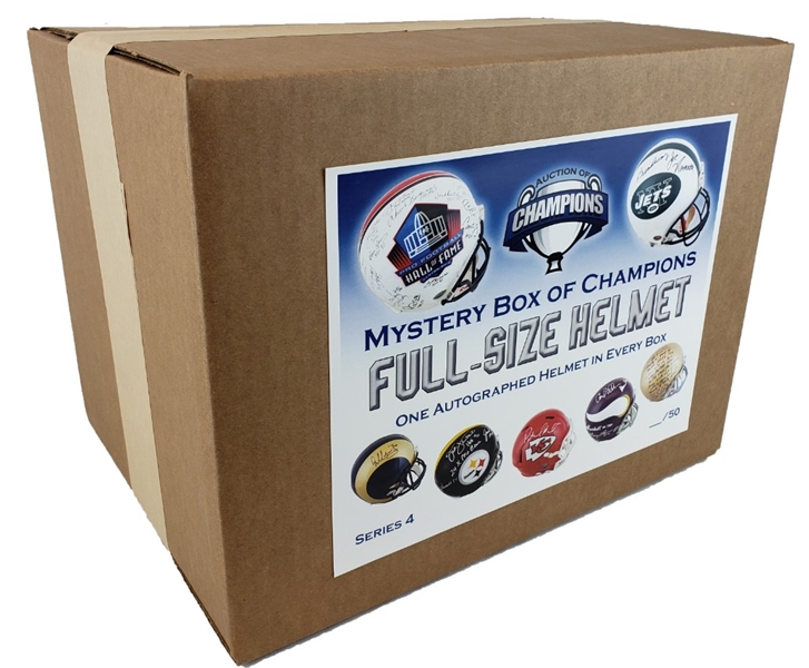 #45 of 50 - Autographed Full Size Helmet Mystery Box - Series 4 - 14 HOF Legends on 1 helmet and much more!
