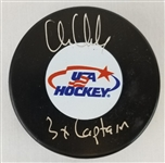 "Chris Chelios ""3x Captain"" Signed USA Hockey Logo Puck (Schwartz Sports COA)"
