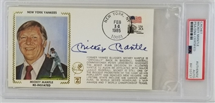 Mickey Mantle Signed 3.5x6.5 MLB 1985 Reinstatement Cachet Envelope (PSA/DNA Encapsulated)