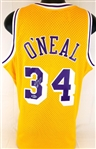 Shaquille ONeal Signed Mitchell & Ness Swingman 1996-97 Lakers Jersey (Beckett Witness COA)