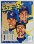 Robin Yount, Paul Molitor & Jim Gantner Signed Official 1992 Brewers Yearbook (JSA COA)