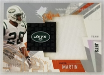 Curtis Martin New York Jets 2003 SPX Winning Materials Lmt. Ed Relic Football Card #73 of 250
