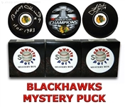 Chicago Blackhawks Signed Mystery Box Logo Hockey Puck - Champions Edition Series 7 (Limited to 200)