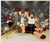 "Artist Myron Waldman Signed Lmt Ed. Artist Proof Popeye ""The Knockout"" 11.5x13.5 Hand-Painted Cel"