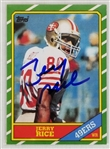 Jerry Rice Signed 1986 Topps #161 Rookie Reprint Card (JSA COA)