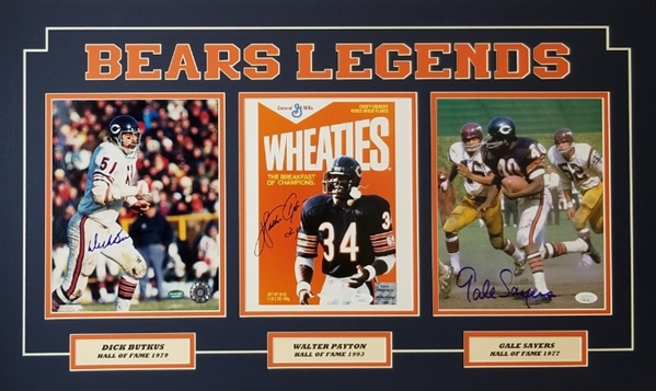 Walter Payton, Dick Butkus & Gale Sayers Signed Bears Legends 18x30 Matted Photo Display (JSA & Schwartz COAs)