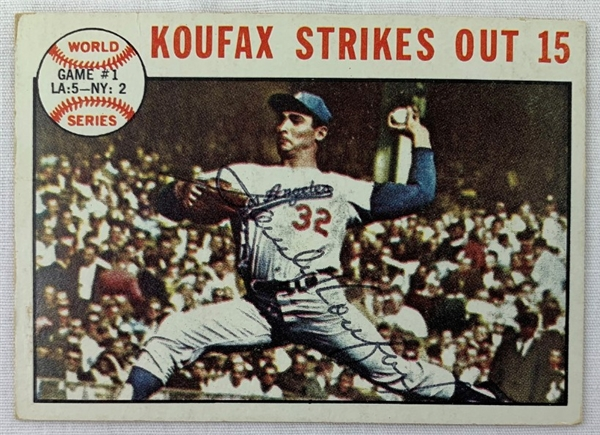 Sandy Koufax Los Angeles Dodgers Signed 1964 Topps Baseball Card (JSA COA)