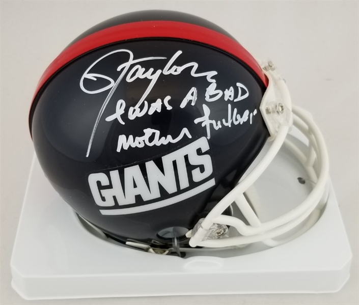 "Lawrence Taylor ""I Was a Bad Mother F*****"" Signed New York Giants Mini Helmet (JSA Witness COA)"