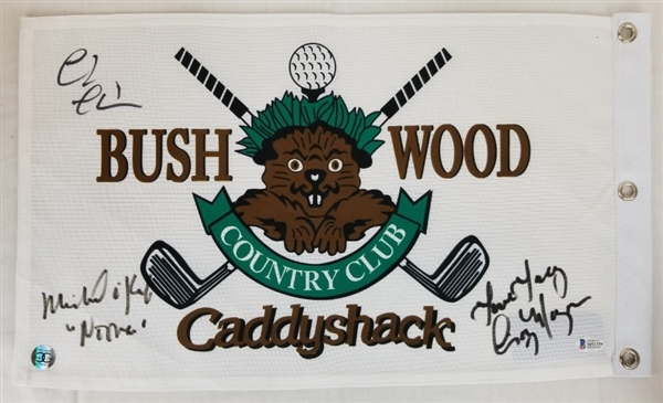 Chevy Chase, OKeefe & Morgan Signed & Inscribed Bushwood CC Caddyshack Golf Pin Flag (Beckett Witness COA)