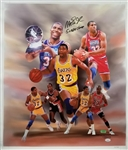 "Magic Johnson ""5x NBA Champ"" Signed Los Angeles Lakers 24x28 Canvas (JSA COA)"