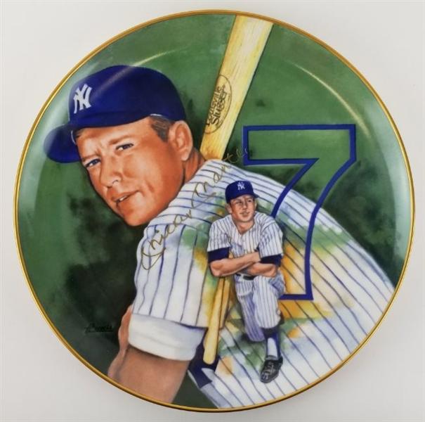 Mickey Mantle Signed 1983 Collectible Pablo Carreno Ceramic Plate (JSA LOA)