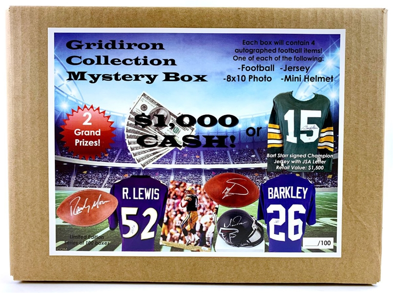 Football Gridiron Collection Mystery Box - 4 Autographed Items Per Box! $1000 Cash, Bart Starr Jersey & Much More!