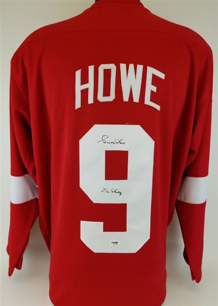 "Gordie Howe ""Mr Hockey"" Signed Detroit Red Wings Custom Jersey (PSA/DNA COA)"