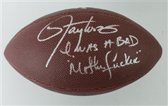 "Lawrence Taylor ""I was a BAD Mother******"" Signed NY Giants Wilson NFL Football (JSA Witness COA)"