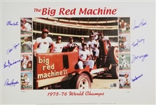 Reds Big Red Machine Signed Lmt Ed. 1975-76 World Champs 17.5x28 Lithograph w/ 8 Signatures (JSA COA)