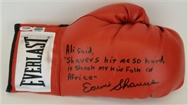 Earnie Shavers Signed & Inscribed Ali Quote Red Everlast Boxing Glove (PSA/DNA COA)