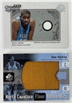 Lot of (2) North Carolina Tar Heels Relic Basketball Cards - Vince Carter (Shirt) and Sam Perkins (Used Floor Piece)
