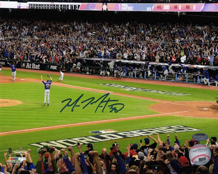 Mike Montgomery Signed Cubs 2016 World Series Game 7 Last Out 8x10 Photo (Schwartz Sports COA)